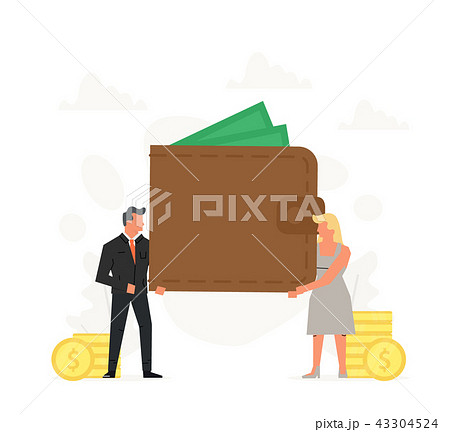 People hold a large purse. Concept of storage personal funds and online payments. Business 43304524