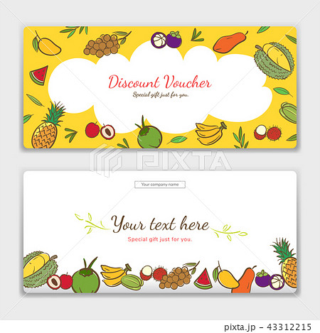 tropical fruits theme gift certificate voucherのイラスト素材
