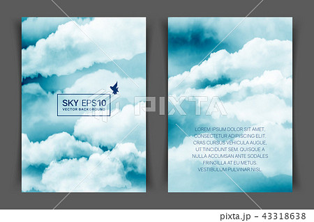 two sided vertical flyer of a4 format with watercolor blue white sky