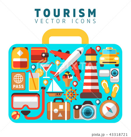 Travel holiday vacation concept with flat tourism vector icons in suitcase form 43318721