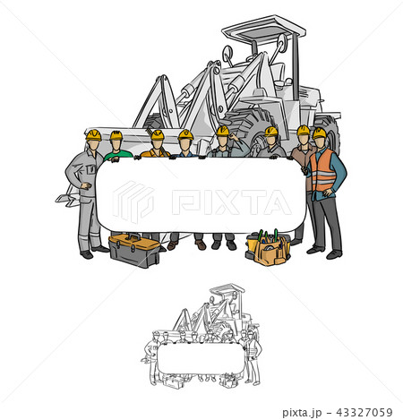 male construction worker holding blank billboardのイラスト素材