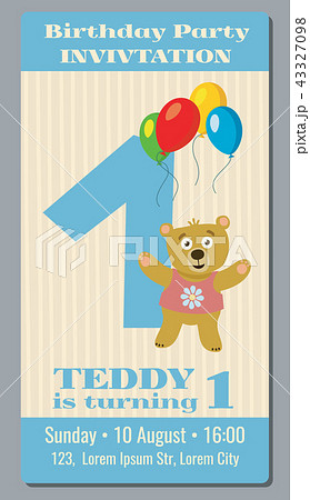 birthday party invitation card with cute bear vector template 1 year