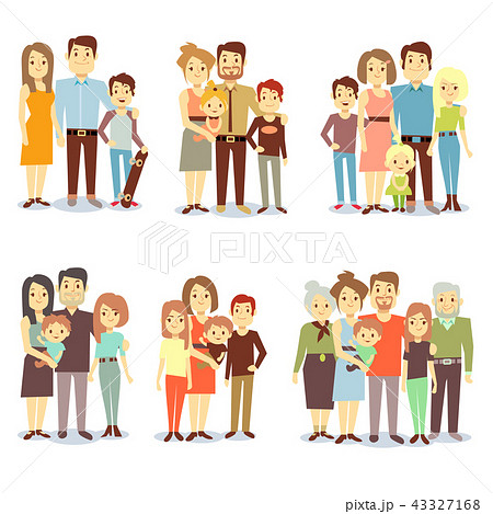 Families different types flat vector icons set 43327168