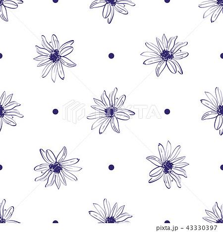Flower pattern seamless, Elegant hand-drawn flower. Minimal design white background. Floral pattern 43330397