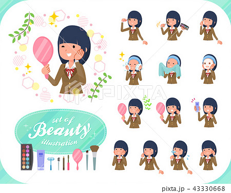 flat type school girl Brown Blazer_beauty 43330668