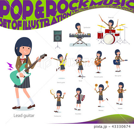 flat type school girl Brown Blazer_pop music 43330674
