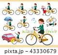 女性 学生 自転車のイラスト 43330679