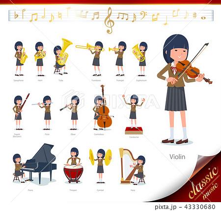 flat type school girl Brown Blazer_classic music 43330680
