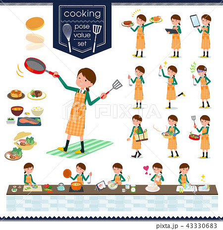 flat type school girl Green Blazer_cooking 43330683