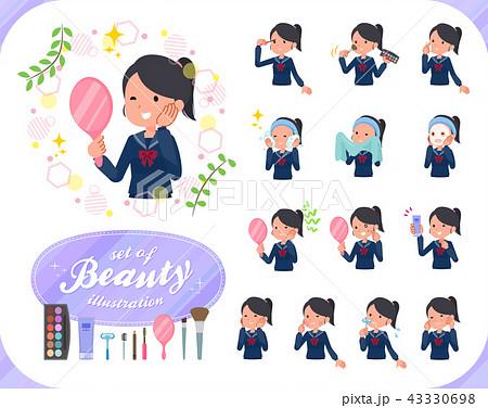 flat type school girl Sailor suit_beauty 43330698