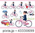 女性 学生 自転車のイラスト 43330699
