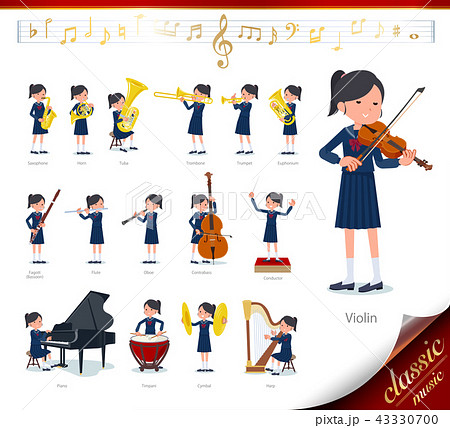 flat type school girl Sailor suit_classic music 43330700