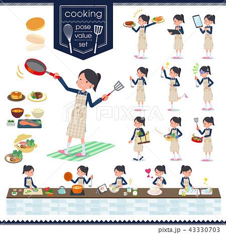 flat type school girl Sailor suit_cooking 43330703