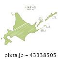 手書きの北海道マップイラスト 43338505