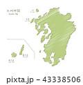 手書きの九州マップイラスト 43338506