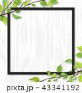 白木 フレーム 葉のイラスト 43341192
