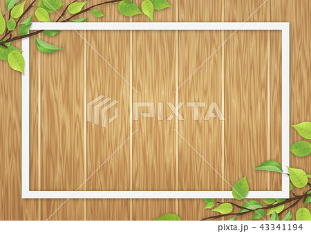 新緑 葉 白いフレーム オーク色 木目 43341194