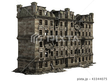 Ruined Building Isolated On White 3D Illustration 43344075