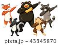 組み合わせ 動物 ダンスのイラスト 43345870