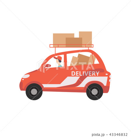 Red cargo delivery car with cardboard boxes, fast shipping concept vector Illustration on a white 43346832
