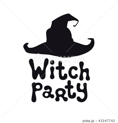 witch party halloween theme handdrawn lettering phrase with witch