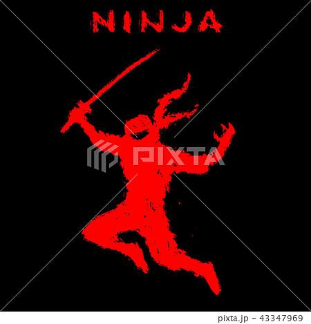 Ninja with sword attacks in jump. Vector 43347969