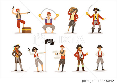 Pirate Sailors With Classic Filibusterer Attributes Set Of Smiling Male Characters With Guns And 43348042