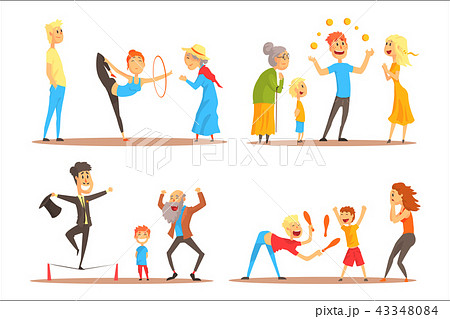 Rope walker and magician performing before happy people. Circus or street actors set of colorful 43348084