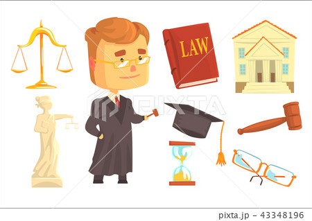 Judge and attributes of judicial activity set for label design. Law and justice, cartoon detailed 43348196