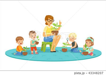 Biology lesson in kindergarten, children looking at plant seedlings. Cartoon detailed colorful 43348207