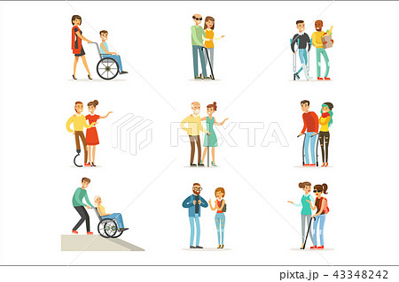 Help and care for disabled people set for label design. Cartoon detailed colorful Illustrations 43348242