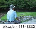 老人 男性 座るの写真 43348882