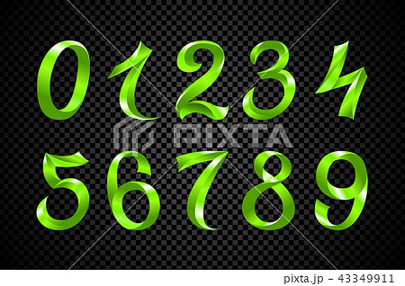 set of festive green ribbon digits vector number 43349911