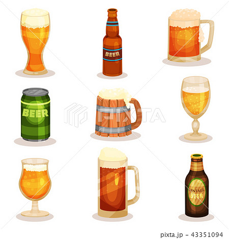 Flat vector set of bottles, glasses and mugs of beer. Alcoholic beverage. Elements for promo poster 43351094