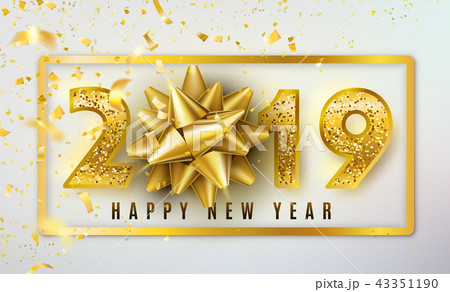 2019 happy new year vector background with golden gift bow confetti
