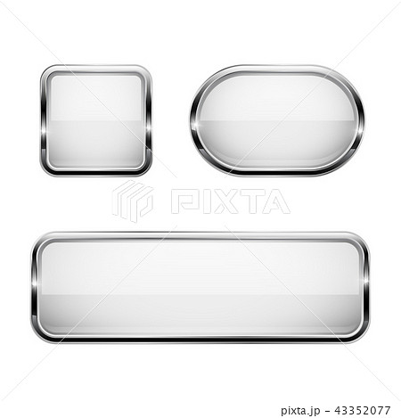 White glass buttons with chrome frame. 3d icons 43352077