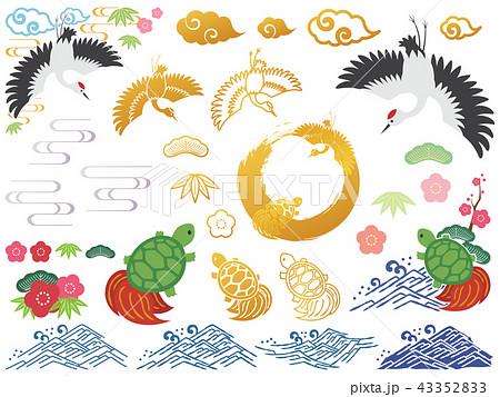 鶴と亀のパーツのセット 43352833