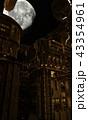 夜の惑星都市と月 43354961