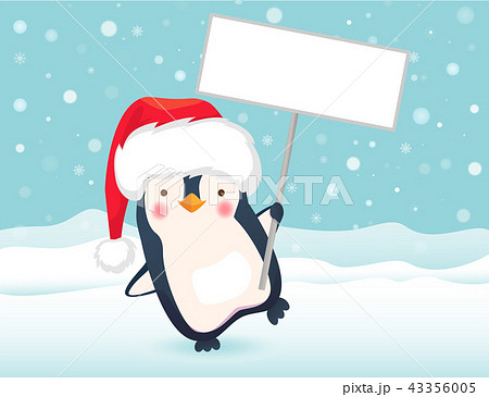 penguin holding sign 43356005