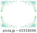 青いボタニカルフレーム 43358096