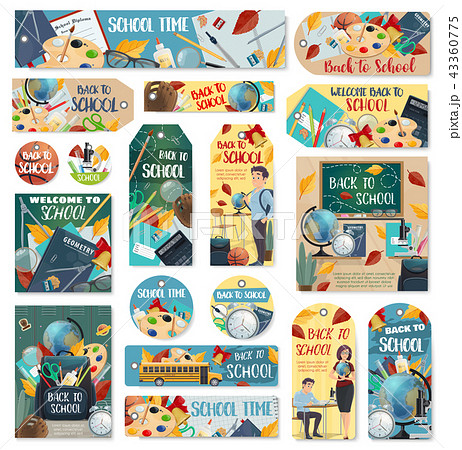 Back to School education vector tags and labels 43360775