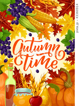 Autumn time harvest fest vector poster 43360914