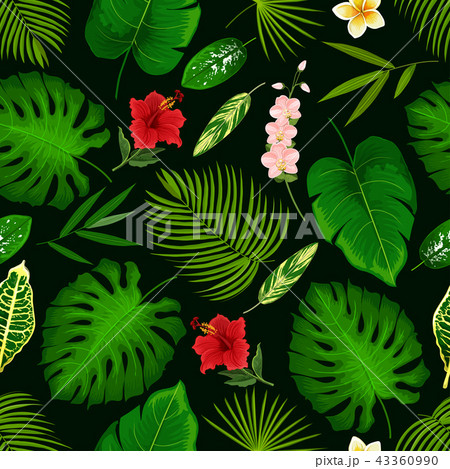 Tropical flower and palm leaf seamless pattern 43360990