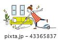 女性:部屋、掃除、掃除機 43365837