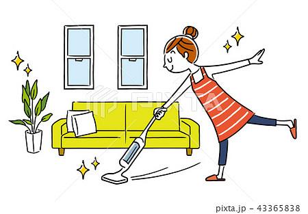 女性:部屋、掃除、掃除機、コードレス 43365838