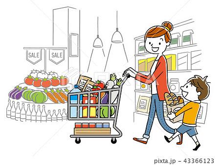 親子:スーパーマーケット、買い物、ライフスタイル 43366123