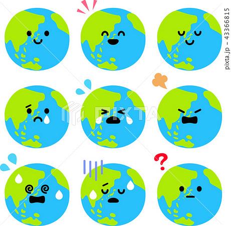 地球のキャラクターのいろいろな表情のイラスト素材 43366815 Pixta