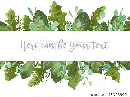 foliage template banner frame for wedding のイラスト素材 43368996