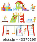 Kids playing at playground set, children swinging on swing, climbing up ladder, riding spring horse 43370295