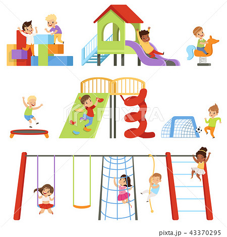 Kids playing at playground set, children swinging on swing, climbing up ladder, riding spring horse 43370295